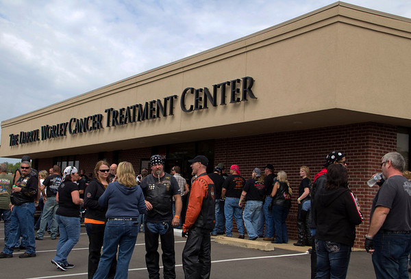Motorcycle riders touring the Darryl Worley Cancer Treatment Center in Savannah, TN!