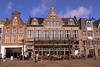 Restaurants in the winter, cafes with the coming of spring. The main square in central Haarlem