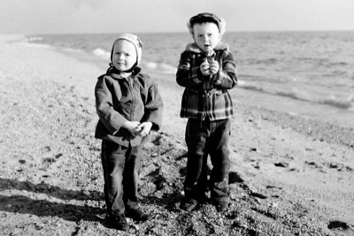 2 boys on beach in winter