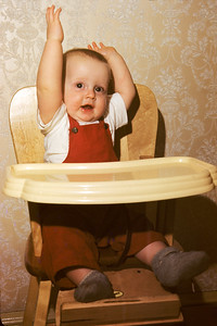jpb in high chair