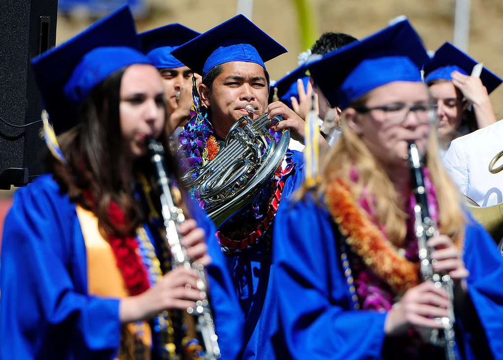 . BENICIA, CA - JUNE 9, Seniors play for the last time with the Benicia band during graduation at Benicia High School on Saturday. (CHRIS RILEY/TIMES-HERALD)