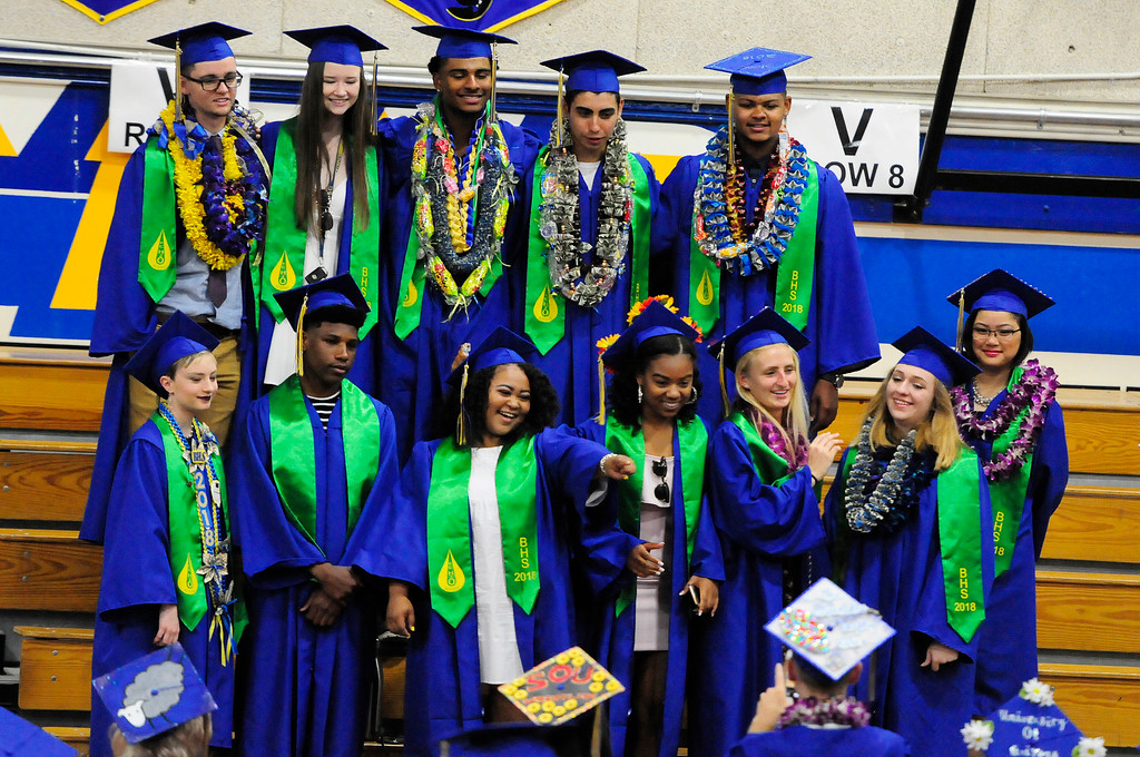 . BENICIA, CA - JUNE 9, Graduate take a group photo before graduation at Benicia High School on Saturday. (CHRIS RILEY/TIMES-HERALD)