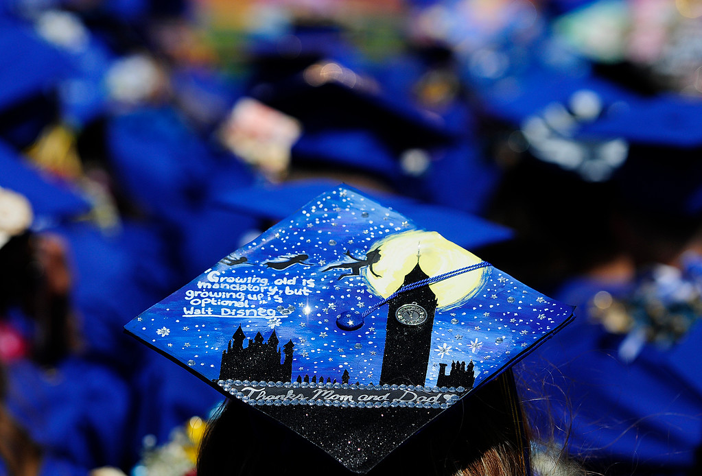 . BENICIA, CA - JUNE 9, A graduate makes a statement with her cap during graduation at Benicia High School on Saturday. (CHRIS RILEY/TIMES-HERALD)