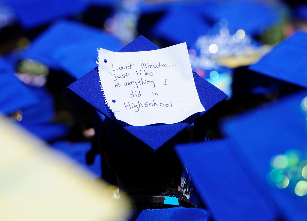 . BENICIA, CA - JUNE 9, A graduate makes a statement with his cap during graduation at Benicia High School on Saturday. (CHRIS RILEY/TIMES-HERALD)