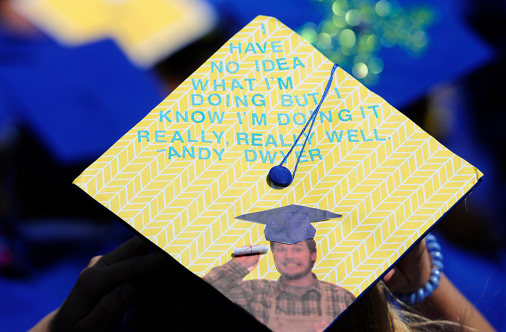 . BENICIA, CA - JUNE 9, Shannon Sweeney makes a statement with her cap during graduation at Benicia High School on Saturday. (CHRIS RILEY/TIMES-HERALD)
