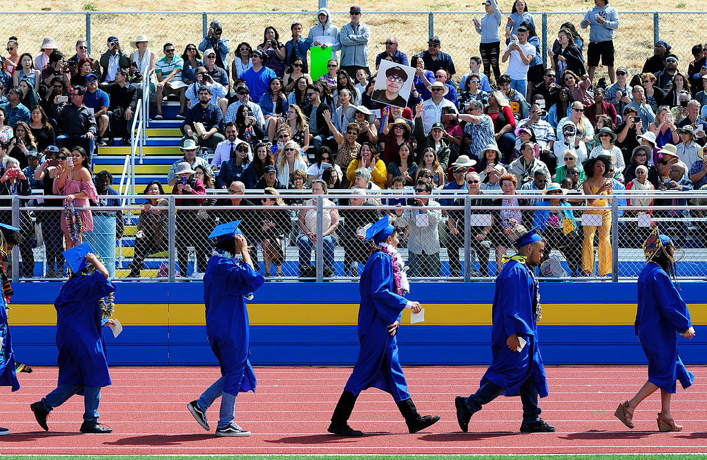 . BENICIA, CA - JUNE 9, Graduates file into the ceremony during graduation at Benicia High School on Saturday. (CHRIS RILEY/TIMES-HERALD)