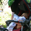 After a while of dipping his feet in the pool, he was knackered and took a nap in his stroller