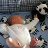 Benjamin and Mr. Panda enjoy the new travel crib