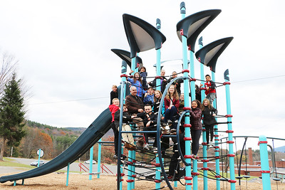 Members of Bennett Elementary School's Student Council pose for a photo on the school's new playground, which opened on November 27. Joining them was Jared Mance, Onteora's Director of Facilities and Operations.