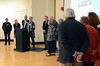 """David LaChance — Bennington Banner<br /> Constance """"Consie"""" West, the chair of the Bennington Museum's board of directors, introduces volunteers Jackie and Tony Marro, Ray Bolton, Jon Goodrich, Heather Hamilton, Liz Luca, Edd Lyon, Doug Mears, Don Miller, Jane Moriarty, Carolyn Plage, Mary Rogers and Don Trachte, winners of the museum's General Stark Society Award for their work on the George Aiken Wildflower Trail.."""