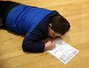 "HOLLY PELCZYNSKI - BENNINGTON BANNER Ely Crandall 7 years old, of Bennington reflects on the year of 2018 while laying on floor of the Bennington Museum during the  ""Noon"" Year's Eve Celebration held on December 31st."