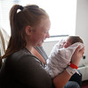 HOLLY PELCZYNSKI - BENNINGTON BANNER Gabrielle Freeman of Bennington holds her newborn baby Taylor Ann Woodard on Wednesday afternoon at the maternity ward of the Southwestern Vermont Medical Center in Bennington. Taylor Ann was born on New years Day at 2:52 Pm weighing 5 lbs and 15 oz.  16.75 inches long. She was born on her mother's birthday surprisingly in the same that her mother was born in 22 years prior. Her mother, Gabrielle Freeman was also the first baby born in the state of Vermont 22 years ago.