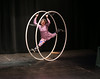 HOLLY PELCZYNSKI - BENNINGTON BANNER Abby Lively gives a very entertaining performance while spinning in a giant German Wheel during the Bennington's Got Talent competition on Sunday evening at the Laumeister Theater in Bennington Vermont.