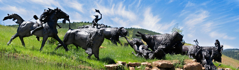 <p>Tatanka Sculpture on Kevin Costner's Ranch in the Black Hills, South Dakota<br>Panoramic from four shots taken hand-held with a Canon Powershot S400