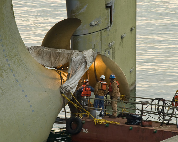 <i>Polar Discovery </i> at Bell Street Pier on the Seattle Waterfront.  Stern tube being repaired.