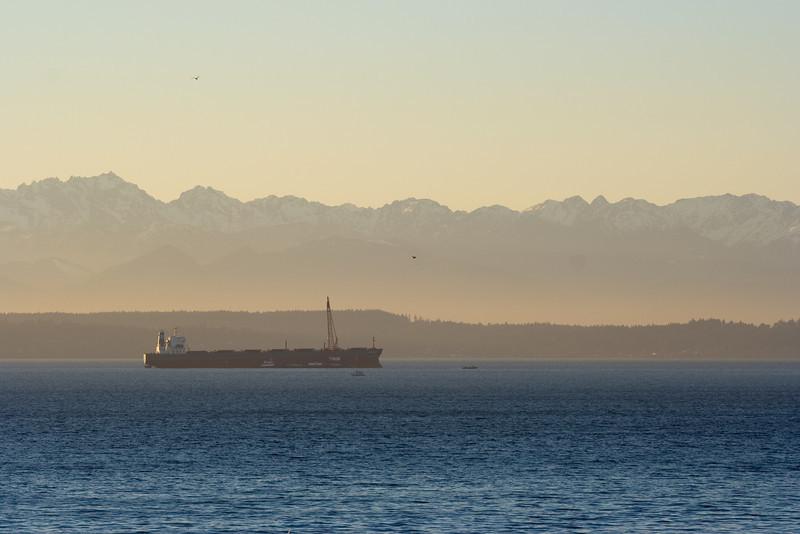 Grain ship anchored in Elliot Bay