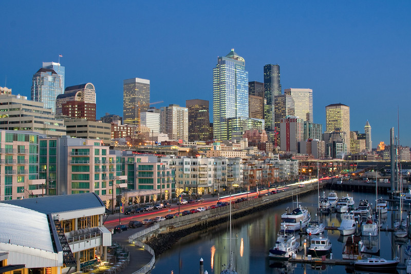 Seattle skyline and Bell Harbor Marina