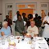 2016-09-24 Benson Tanzania Africa (Sat) Arusha - Legendary Lodge - Pete at bithday dinner w cake Jo LL Staff