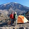 2016-09-29 Benson Tanzania Africa (Thu) Kilimanjaro Day 05 Karanga Camp - Bob Jo w Mt Kilimanjaro behind 03
