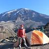 2016-09-29 Benson Tanzania Africa (Thu) Kilimanjaro Day 05 Karanga Camp - Bob w Mt Kilimanjaro behind