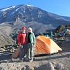 2016-09-29 Benson Tanzania Africa (Thu) Kilimanjaro Day 05 Karanga Camp - Bob Jo w Mt Kilimanjaro behind 01