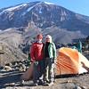 2016-09-29 Benson Tanzania Africa (Thu) Kilimanjaro Day 05 Karanga Camp - Bob Jo w Mt Kilimanjaro behind 02 Clsup