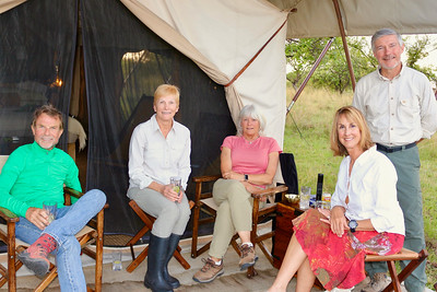 2016-10-07 Benson Tanzania Africa (Fri) Safari Day 13 Serengeti Under Canvas - Cocktails at Benson tent Bob Holly Jo Debba Tomboy