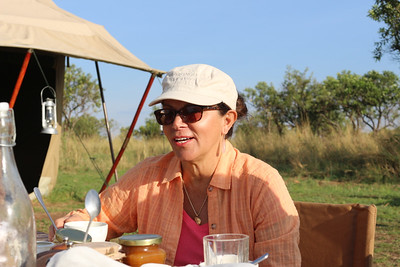 2016-10-07 Benson Tanzania Africa (Fri) Safari Day 13 Serengeti Under Canvas - Theresa at breakfast