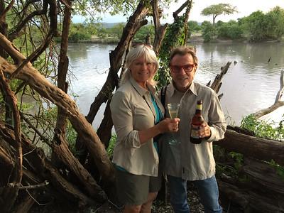 2016-10-09 Benson Tanzania Africa (Sun) Safari Day 15 Serengeti Grumeti - Bob Jo at river