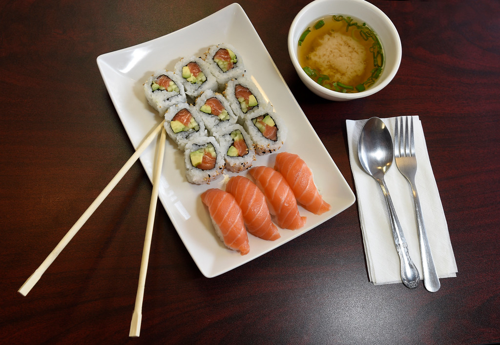 . The Sushi Combo B with fresh salmon roll and nigiri at Bento-Ria Sushi on University Hill on Monday in Boulder. For more photos of the food at Bento-Ria Sushi go to www.dailycamera.com Jeremy Papasso/ Staff Photographer/ April 17, 2017
