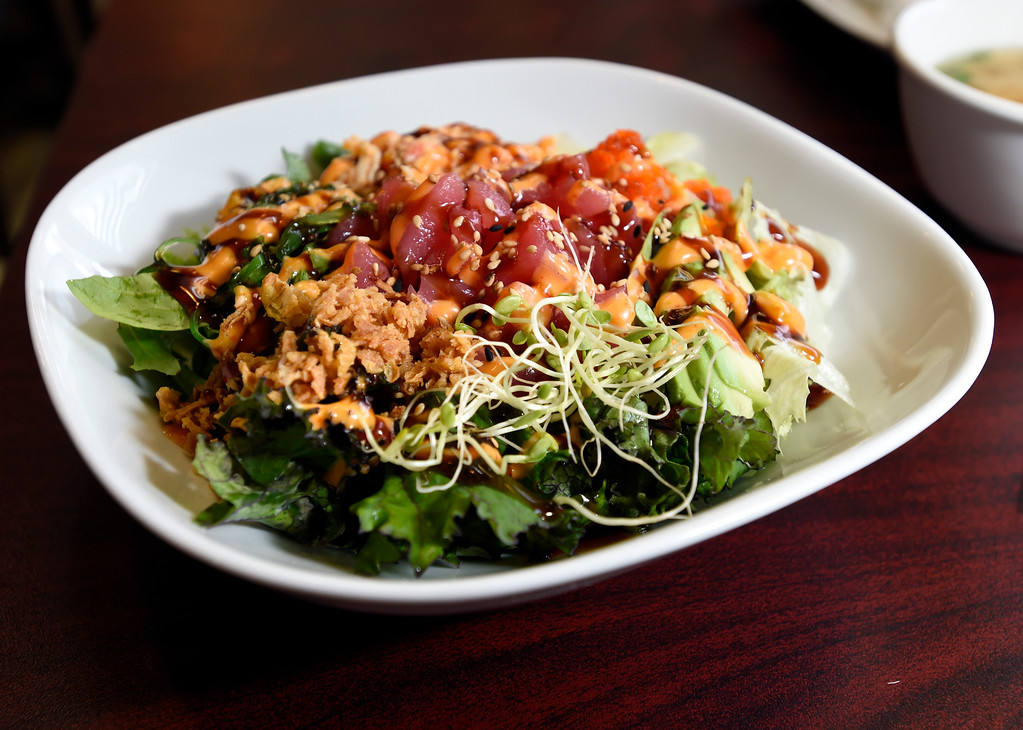 . Spicy tuna Poke Bowl at Bento-Ria Sushi on University Hill on Monday in Boulder. For more photos of the food at Bento-Ria Sushi go to www.dailycamera.com Jeremy Papasso/ Staff Photographer/ April 17, 2017