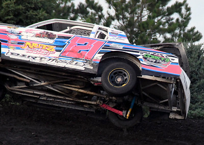 Benton County Speedway, July 22, 2018. Kenzie Ritter flips
