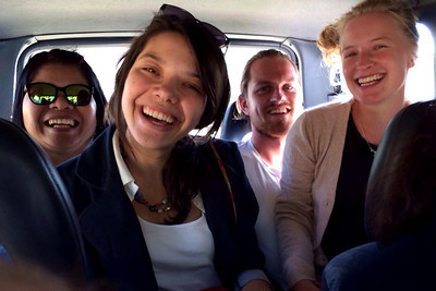 Squeezing in the back of Pati's car with friends  (left to right) Mom, me, Sune, Line