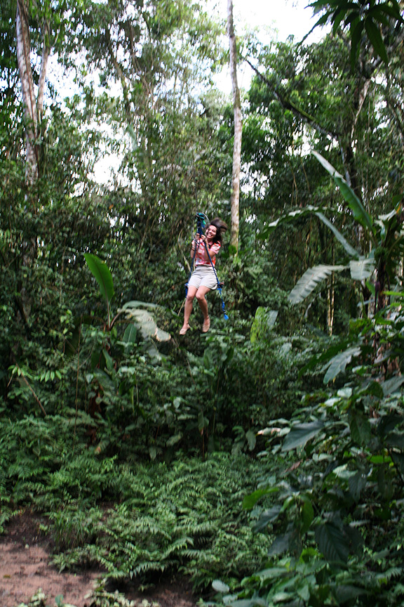 Swinging from the trees at La Jungla, Villa Tunari