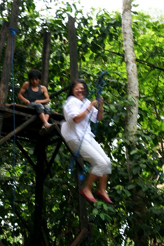 Mom swinging at La Jungla