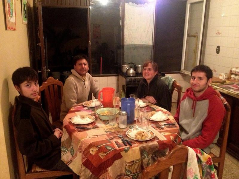My Bolivian family and a Thai dinner (left to right) Juan Pablo, Rafael, Claudia, Sebastian