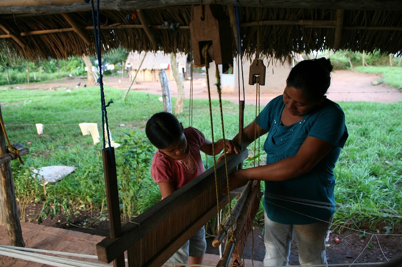 Asunta and Maria setting up to weave
