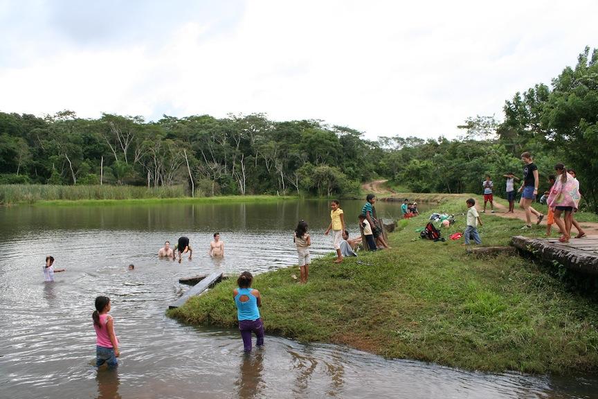 Playing in the water at Santa Rita