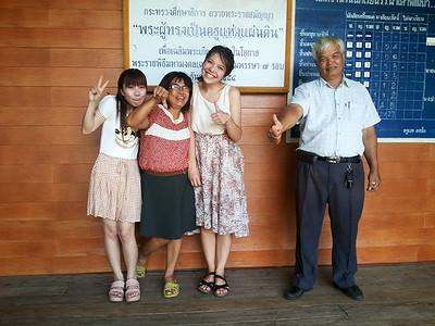 With my idol teachers at Pah Tdao Pattana School  Left to right: ครูกร แม่ครู เบญ พ่อครู