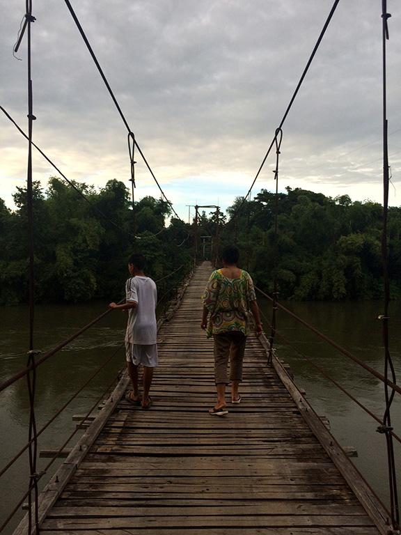 Mom and Jumbo on Pah Tdao Bridge