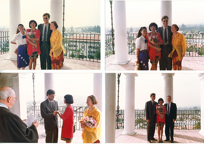 Same dress with Santa Barbara family & friends, May 8, 1992. Original wedding was a Buddhist ceremony in Chiang Mai on March 4.