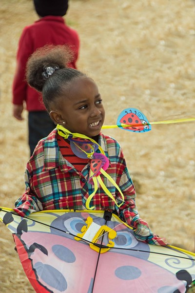 young flyer with her kite