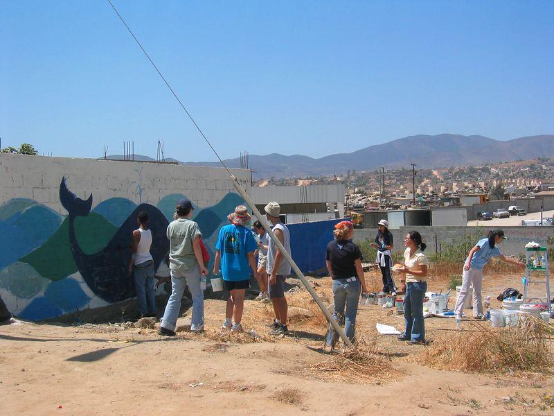 2004 05 29 Saturday Mural Team - in progress