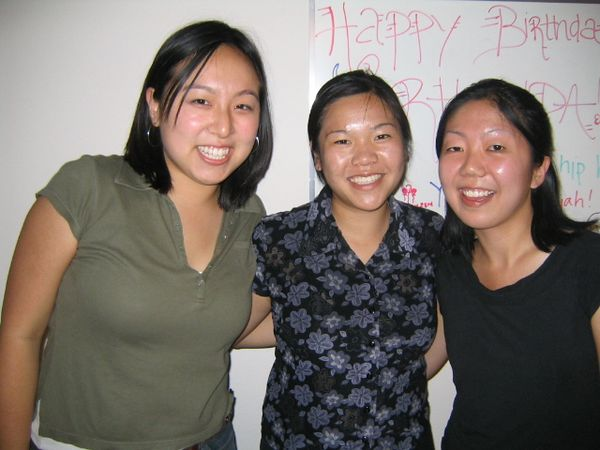 2004 08 23 Monday - Rhonda's 23rd birthday - Roomates Teresa Wang, Rhonda Mar, & Lisa Chang