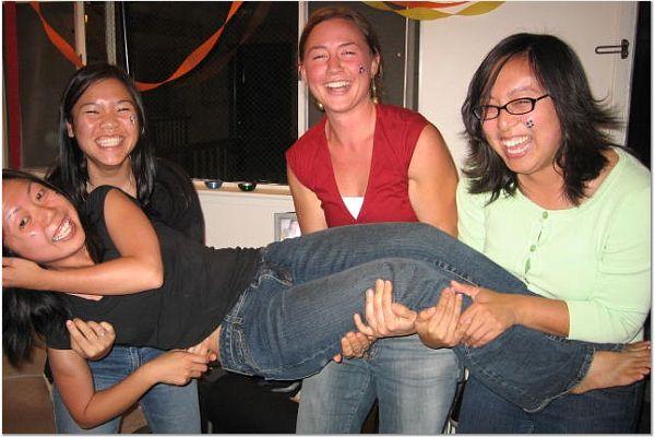 Rhonda Mar, Lindsay, & Teresa Wang carry Lisa Chang 2