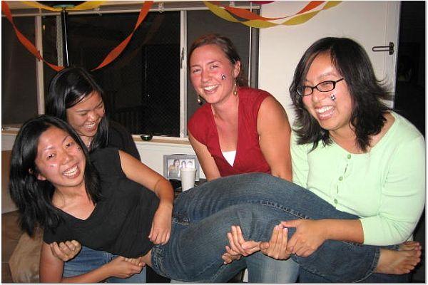Rhonda Mar, Lindsay, & Teresa Wang carry Lisa Chang 1
