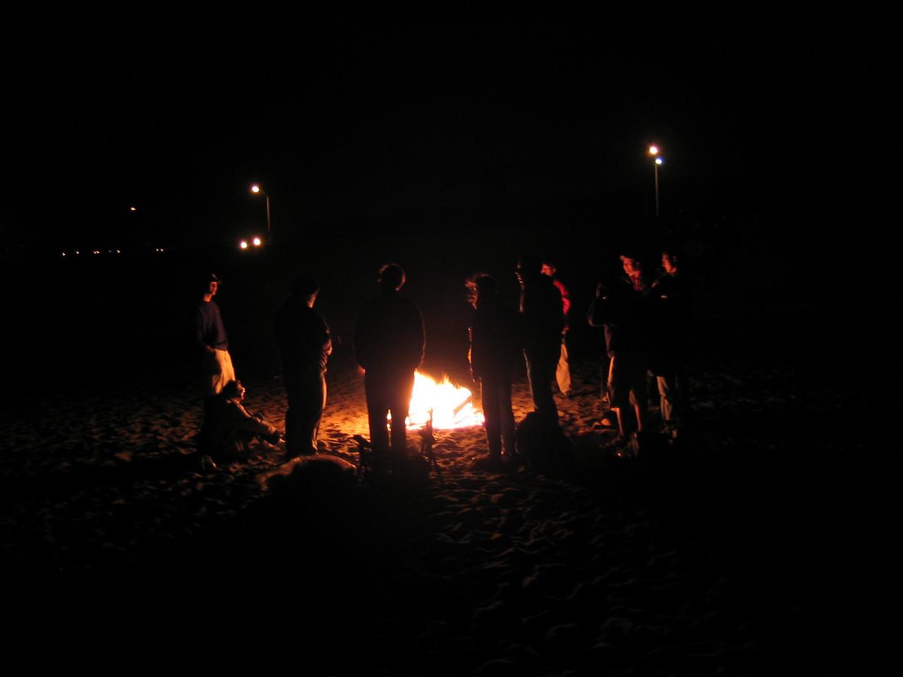 Saying so around fire - Group back dark