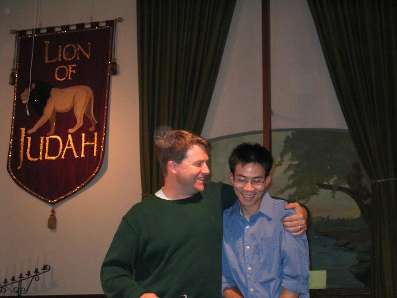 2003 10 05 Sun - Pastor Dennis Tuma & Ben Yu post-dunking