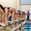 Left to right, members of Monument Mountain, New Lebanon/Berlin, Mount Anthony, and Taconic Hills prepare for the start of the Girls 200yd Individual Medley.