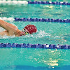 Spartan's Harry Alberts takes a breath as he pushes toward a first place finish in the Boys' 500yd Freestyle.
